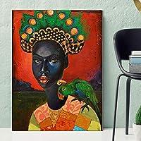 """キャンバスにプリントアフリカの黒人女性オウムの写真壁アートアートワーク絵画ポスターリビングルーム寝室家の装飾23.6"""" x35.4""""(60x90cm)フレームレス"""