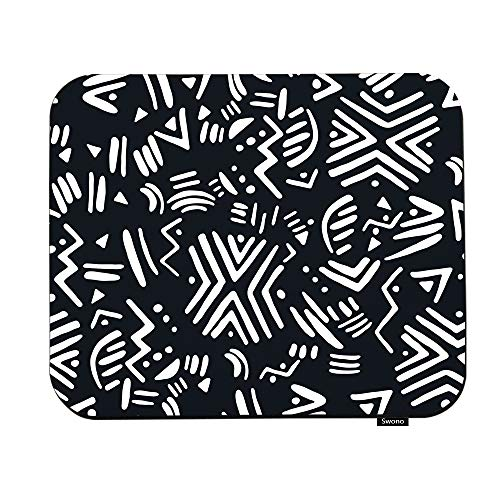 Swono Ethnic Mouse Pads Abstract Tribal Ethnic Pattern Black and White Design Mouse Pad for Laptop Funny Non-Slip Gaming Mouse Pad for Office Home Travel Mouse Mat 7.9'X9.5'