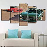 45Tdfc Cuadro En Lienzo 5 Piezas Pintura Coche de Lujo clásico Rojo Verde Moderno Fotos Material Te Jido No Tejido Arte Pared DecoracióN HogareñA ImpresióN