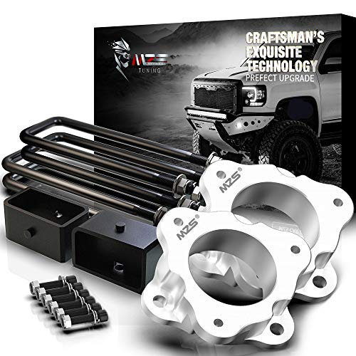 MZS Leveling Kit 3  Front Strut Spacers and 2  Rear Lift Block Compatible with 2007-2019 Silverado 1500 | Sierra 1500 (2019 ONLY fit old body)