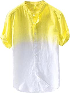Summer Cotton Linen Shirt for Men Gradient Color Button Down Shirts Short Sleeve Lightweight T Shirt Casual Beach Tops