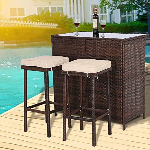 Furnimy 3 Pieces Patio Bar Set Outdoor Wicker Bar Furniture Outdoor Bar Set Outside Bars for Patio...