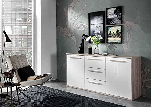 H inHouse srls Aparador de 2 puertas con cajones, color olmo y fresno blanco, medidas L 179,8 x H 85 x P 45 cm