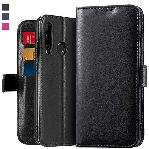 OJBKase Hülle Kompatibel mit Huawei Honor 20 Lite/P Smart Plus 2019, Premium PU Leder Handy Schutzhülle [Standfunktion] [Kartensteckplatz] [Magnetisch] Handyhülle (Schwarz)