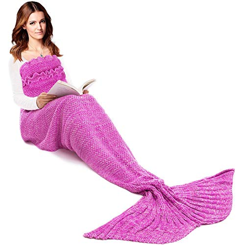 JR.WHITE Mermaid Tail Blanket for Kids, Hand Crochet Snuggle Mermaid,All Seasons Seatail Sleeping Bag Blanket