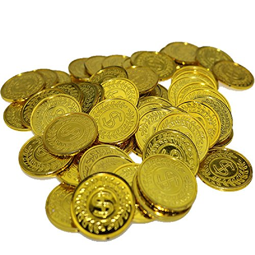 100Pcs Plastic Play Coins Gold Pirate Treasure Hunt Coins Toys for Kids Party Theme Props Decoration,Party Favor,Lucky Draw Games, Plastic Gold Coins Great for Kids, Toddlers, Teachers ¡­