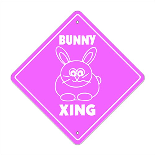 """Bunny Crossing Sign Zone Xing   Indoor/Outdoor   12"""" Tall Plastic Sign rabbit cage food supplies fair contest"""