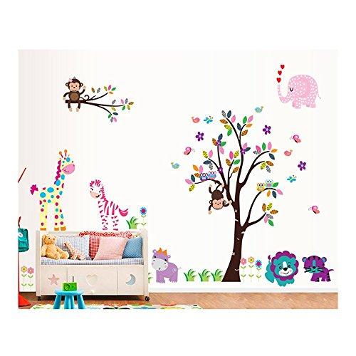 Familia de pared pegatinas autoadhesivas/pared/pegatinas/pared de vinilo para niños/niños habitaciones con árbol, Zoo animales africanos jirafa, mono, cebra, Elefant, León diseños en muchos tipos de varios coloures VAGA