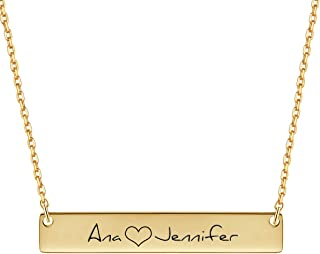 18K Gold Plated Custom Engraved Name Necklace Pendant Jewelry Gift for Bridesmaid VESTVINE Personalized Bar Necklace with Birthstone