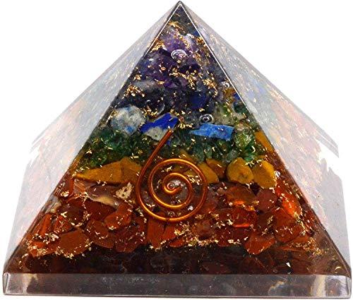 Pirámide de orgonita para curación espiritual, multicolor, 8 x 8 x 7 cm aprox., con espiral de cobre en un lado