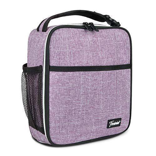 Small Insulated Lunch Bag for Men Women, Splash Proof Mini Portable Reusable Thermal Lunch Box Cooler Tote for Adults & Kids, Purple