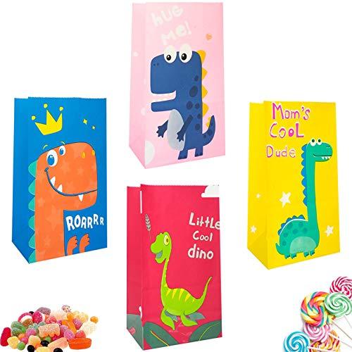 32pcs Sacchetto Di Carta Kraft Candy Tratta I Sacchetti Per I Regali Di Compleanno Di Bambini Sacchetti Di Dolcetti Di Halloween Sacchetto Di Caramelle Di Carta Con Adesivo Borse Da Festa Da Dinosauri