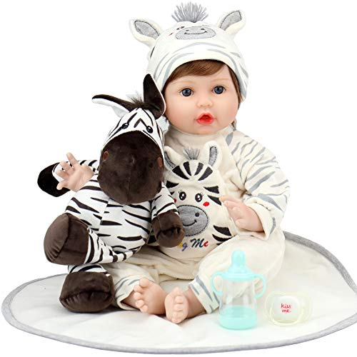 Aori Lifelike Reborn Baby Dolls 22 Inch Real Looking Weighted Reborn Boy Doll with Zebra Best Birthday Set for Girls Age 3