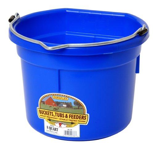 Miller Manufacturing P8FBBLUE Plastic Flat Back Bucket for Horses, 8-Quart, Blue