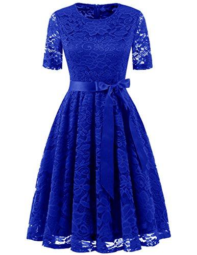 DRESSTELLS Elegant Damen Hochzeit Cocktail Spitzenkleid Rundhalsausschnitt Kurzarm Abendkleid Royal Blue XL