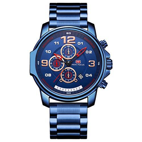 JTTM Reloj Analógico De Cuarzo para Hombre Manos Correa En Acero Inoxidable Multifunción Calendario Impermeable Casual Negocio Relojes,Azul
