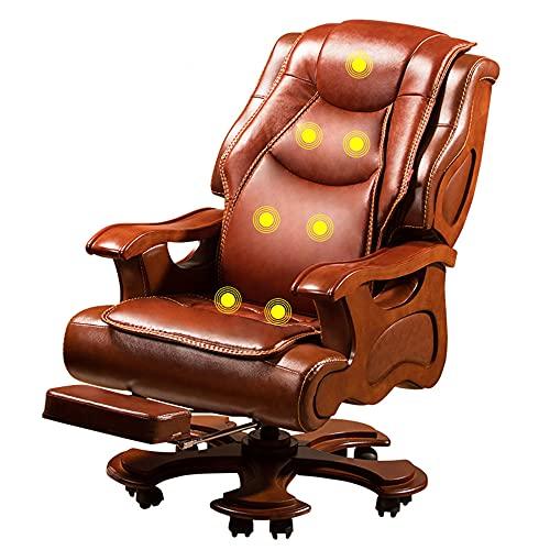 Sillas de Oficina, sillones de Negocios de Madera Maciza, sillones de Jefe con Pedales retráctiles, sillones reclinables de Masaje para el hogar, diseño ergonómico/marrón / 122 / 128cm