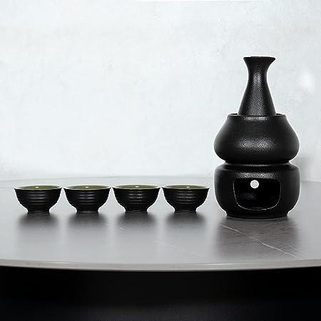 Sake Set with Warmer, KBNI Traditional Pottery Hot Saki Set 7-Piece including 1pc Candle Stove, 1pc Warming Mug, 1pc Sake Pot and 4pcs Sake Cups (Black&Green)