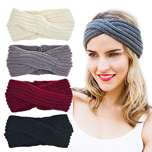 DRESHOW - Fasce elastiche per capelli da donna, con fiori stampati e nodi, ideali per lo yoga, lo sport e il turbante Bianco/grigio/nero/rosso Taglia unica