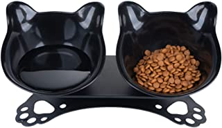 Pantula Cat Bowls - Tilted cat Food Bowls - Raised cat Food Bowl Pet Double 15° Slanted cat Bowls Elevated with Non-Slip Rubber Base Stand for Cats