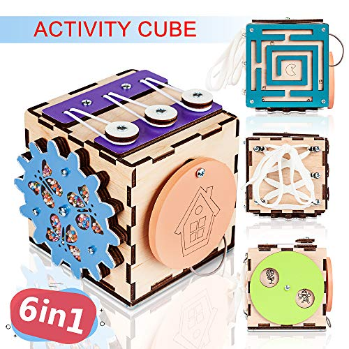 BrainUpToys Busy Activity Cube Travel Activities for Toddlers Kids Children Baby - Busy Board for 1 Year Old – Wooden Sorter Toy - Montessori Toy – Toy Cubes - Learn to Tie Shoes - Lacing