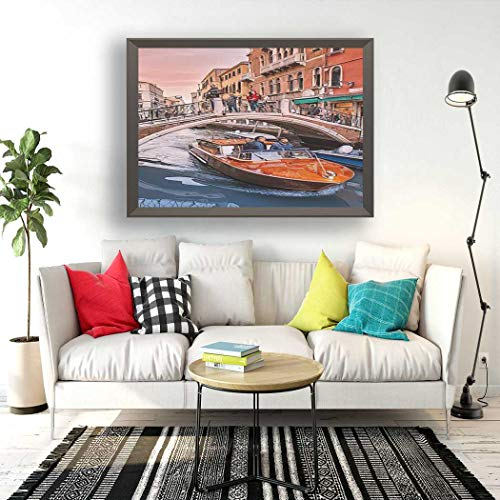 Qoalips Sunset Scenery Boat Diamond Painting Kits, 23 October 2018 Venice Italy Taxi Motor Passes Under Diamond Painting with Tools for Home Wall Decor Full Drill 12x16 Inch
