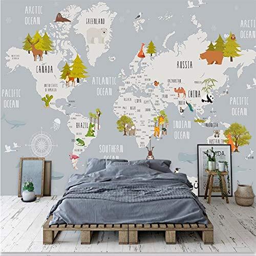 DZBHSCL 4D Behang muurschilderingen, Cartoon wereldkaart dier- en groene boom kunstdruk formaat fotobehang voor kinderkamer kinderkamer achtergrond wanddecoratie 120in×200in 300cm(H)×500cm(W)