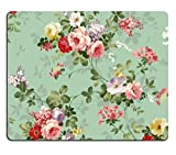 Mouse Pads Punktail eoprene Rubber Backing Custom Imaged, 250X200X2-mm - Vintage Floral Flowers Pattern