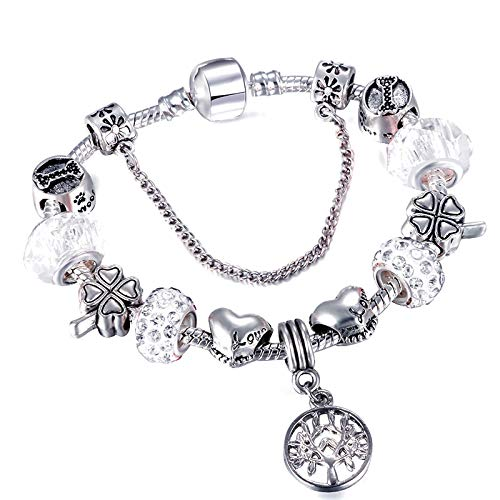 Tree Of Life Charm Silver Charm Bracelet Suitable For Crystal Bead Bracelets And Bangles Women's Jewelry Gifts White 20cm