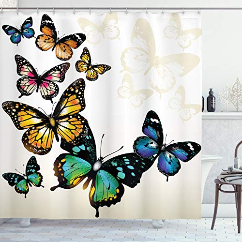 """Ambesonne Butterfly Shower Curtain, Vivid Monarch Butterflies Flying Shades Shadows Dreamlike Fantasy Display, Cloth Fabric Bathroom Decor Set with Hooks, 70"""" Long, Multicolor"""