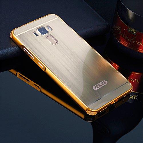 Schutzhülle für Asus ZenFone 3 Laser Hülle Shockproof,Slynmax Spiegel Gold dünn Metall Bumper Hülle für Asus Zenfone 3 Laser ZC551KL Dual Layer 2in1 Electroplate Handyhülle Transparent Mirror Tasche