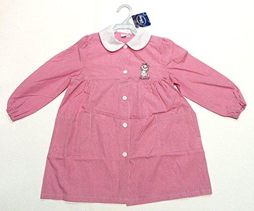 Scuola Delantal para infancia, guardería, diseño de gato y gato Merci 2 años, altura 92 cm, hombro 25 cm, color rosa