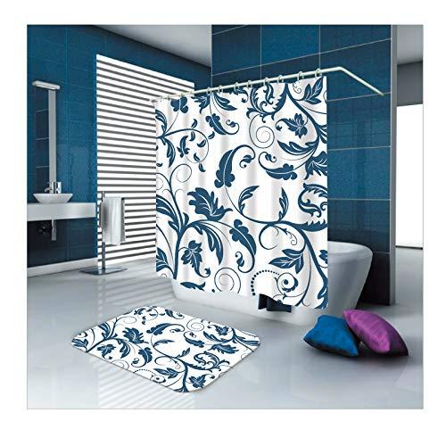 ANAZOZ Duschvorhang+Badematte 2er Set Blaues Muster Wasserdicht, Anti Schimmel, Umweltfre&lich Waschbar Anti-Rutsch Badvorleger Badezimmerteppich für Badezimmer Duschraum Blau Weiß 165X200cm