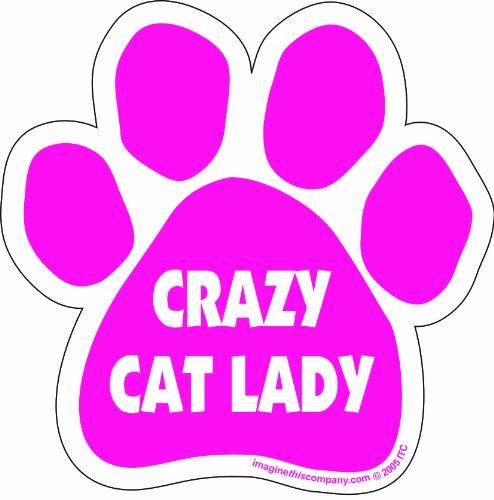Car Magnet- Paw- Crazy Cat Lady- Pink- 5.5' x 5.5'