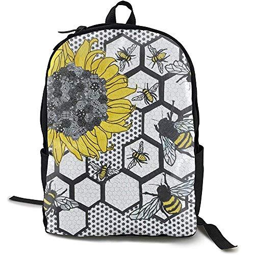 Rugzak, Casual Large College School Daypack - Laptop Outdoor Rugzak voor Zonnebloem Bijenkorf Rugzak