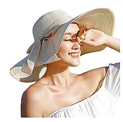 ericotry Damen Strohhut mit großer Schleife, Strandmütze, breiter Schlapphut, faltbar, mit großer Krempe, Sonnenhut, LSF 50+, Party, Garten, Reisen (Beige)