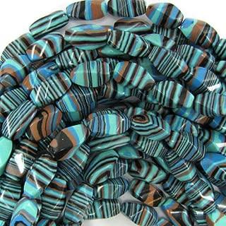 buyallstore 16mm Blue Rainbow calsilica Swirl Beads 15.5