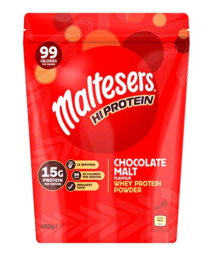 Maltesers Hi Protein Chocolate Malt Flavour Whey Protein Shake Powder 450g Pouch, 18 Servings, 15g Protein and Only 99 Calories, Suitable for Vegetarians