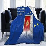 Wand mit Montenegro-Flagge Flanelldecke, flauschig, bequem, warm, leicht, weich, Überwurf für Sofa, Couch, Schlafzimmer