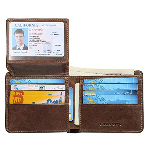 BOSTANTEN Genuine Leather Wallets for Men Bifold RFID Blocking Wallet with 2 ID Window Coffee