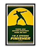 LAB NO 4 Strong Finisher Usain Bolt Sport Quotes Framed