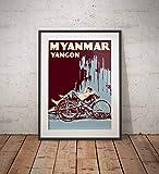 AZSTEEL Vintage Poster Myanmar Yangon Trishaw Blue   Poster
