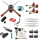 QWinOut DIY RC Drone Kit F450-V2 FPV Quadcopter with Mini PIX Mini GPS Q6 4K Wide Angle Action Camera FPV Watch / FPV Goggles (with Battery&Charger,FPV Watch Version)