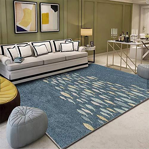 ZGYZ Nordische graue und Blaue Teppiche für Wohnzimmer, Computer Stuhl Bereich Wolldecke Kinderspielmatte Garderoben Teppiche,B,140×200