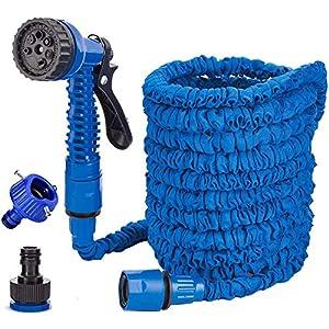 Generic Brands 100FT Manguera de Jardín Azul Manguera de Jardín Flexible con 7 Funciones de riego Manguera de Jardín…