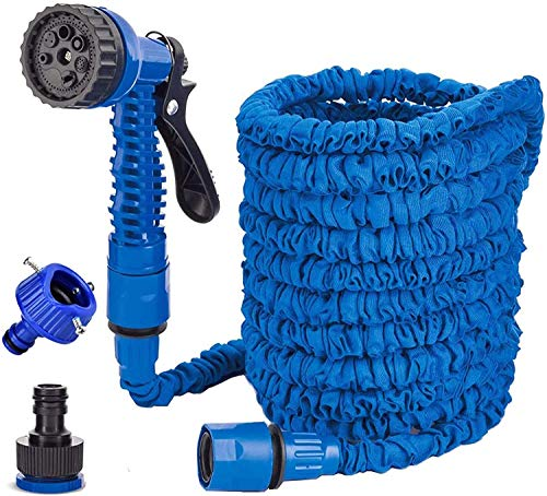 Generic Brands 100FT Manguera de Jardín Azul Manguera de Jardín Flexible con 7 Funciones de riego Manguera de Jardín Extensible para el Lavado de Automóviles, Riego de Jardines