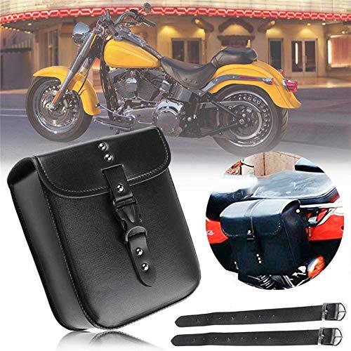 YlRNhe Motorrad-Tasche, schwarz, Leder, Sattelaufbewahrung, Werkzeugkasten, Seitenteile, wasserdichte Motorrad-Seitentasche, Werkzeugtasche, Schwarz , 22*18*10cm/8.6*7.1*3.9inch