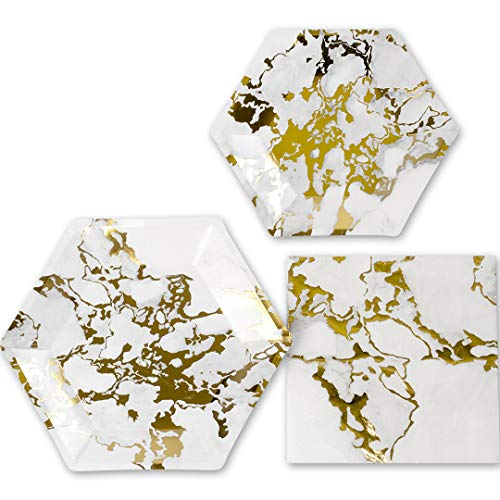 Andaz Press Marble and Gold Foil Tableware Hexagon Party Plates and Napkins in Bulk 50-Pack, 9-Inch Plates, 7-Inch Plates, 6.5-Inch Lunch Napkins, Modern Geometric Inspired Party Supplies Marble Party