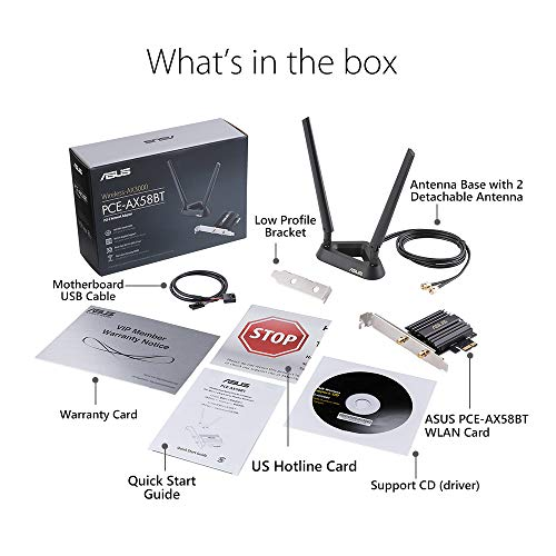 Asus AX3000 (Pce-AX58BT) Next-Gen WiFi 6 Dual Band PCIe Wireless Adapter with Bluetooth 5.0 - Ofdma, 2x2 MU-Mimo and Wpa3 Security,Black