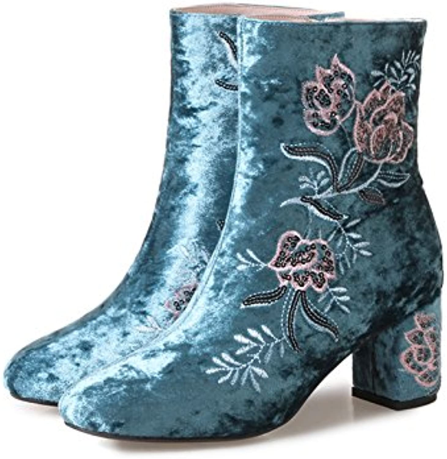 SDKIR-Autumn and winter embroidered folk style high-heeled boots round West boots shoes retro velvet embroidered cheongsam